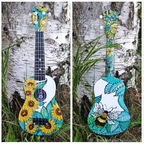 """Струнные инструменты ручной работы. Ярмарка Мастеров - ручная работа. Купить Укулеле """"Подсолнухи""""  гавайская гитарка. Handmade. Цветы"""