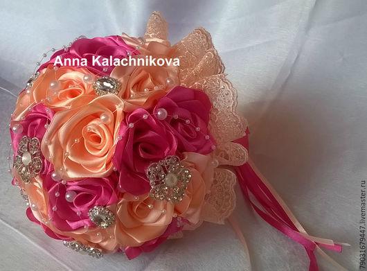 """Свадебные цветы ручной работы. Ярмарка Мастеров - ручная работа. Купить Букет невесты """"Медовый"""". Handmade. Разноцветный, украшение невесты"""