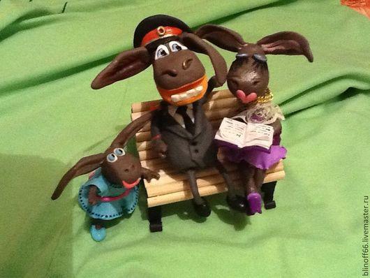 """Игрушки животные, ручной работы. Ярмарка Мастеров - ручная работа. Купить """"Мама, папа, я - веселых осликов семья!"""". Handmade. Ослик"""