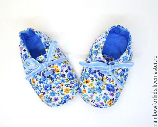"""Детская обувь ручной работы. Ярмарка Мастеров - ручная работа. Купить Модики """"Незабудки"""". Handmade. Синий, моксы, обувь для дома"""