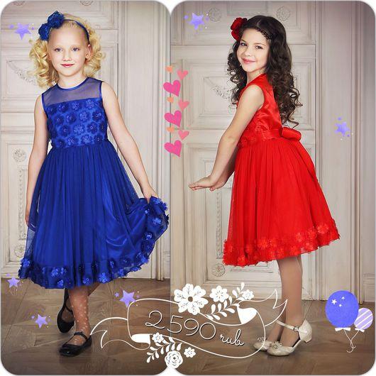 Одежда для девочек, ручной работы. Ярмарка Мастеров - ручная работа. Купить Нарядное платье для девочки, яркое (красное-67). Handmade.