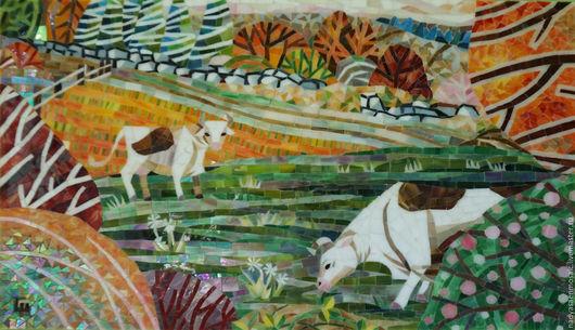 Пейзаж ручной работы. Ярмарка Мастеров - ручная работа. Купить Картина из мозаики Прованс. Handmade. Комбинированный, коровы, мозаика, подарок