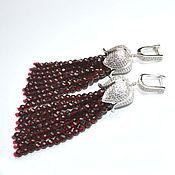Украшения handmade. Livemaster - original item Earrings tassel Garnet Black Spinel SILVER TULIP handmade. Handmade.
