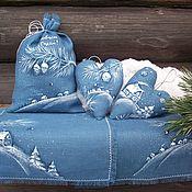 Подарки к праздникам ручной работы. Ярмарка Мастеров - ручная работа Зимняя сказка....Подарок на Новый год. Лен.Роспись.. Handmade.