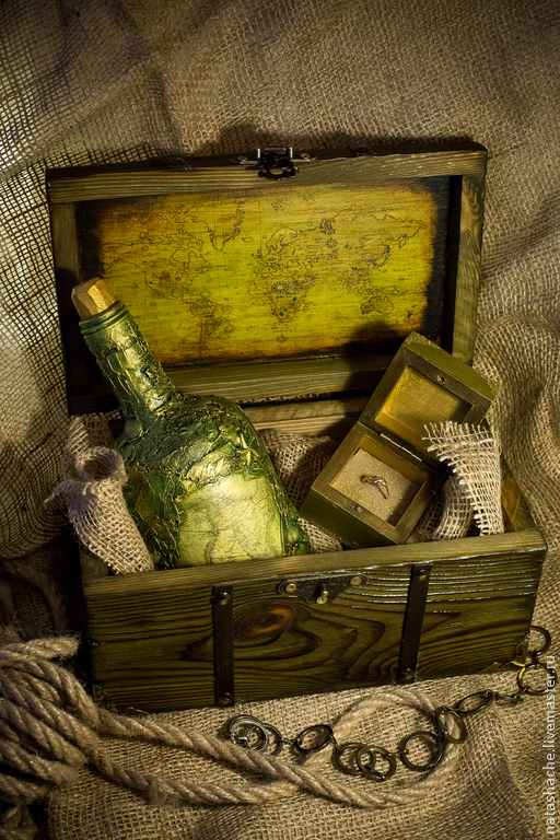 Шкатулки ручной работы. Ярмарка Мастеров - ручная работа. Купить Морской сундук с сокровищами. Handmade. Зеленый, сундук деревянный, сундук