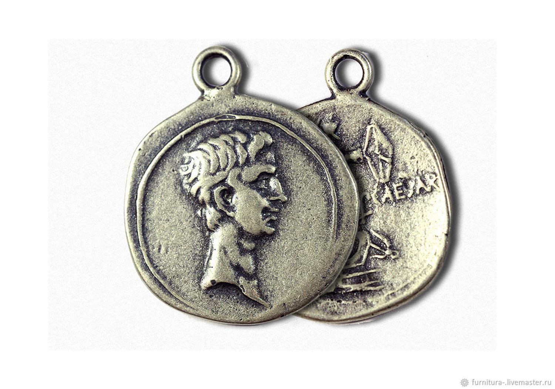 Медальон серебро 925, император Октавиан Август, Бусины, Москва,  Фото №1
