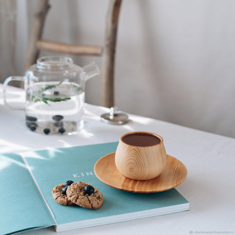 A couple of tea series of 'Meringue' made of Cedar (mug and saucer) NC27, Mugs and cups, Novokuznetsk,  Фото №1