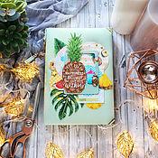 """Ежедневники ручной работы. Ярмарка Мастеров - ручная работа Ежедневник """"Pineapple happiness"""". Handmade."""