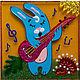 """Магниты ручной работы. Ярмарка Мастеров - ручная работа. Купить Магнит """"Заяц с гитарой"""". Handmade. Заяц, авторский сувенир"""