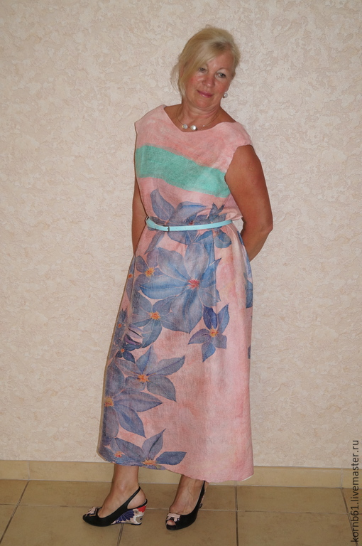 """Платья ручной работы. Ярмарка Мастеров - ручная работа. Купить Платье нуновойлок """" Blue flowers"""". Handmade. Разноцветный"""