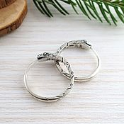 Earrings handmade. Livemaster - original item Ouroboros earrings 22 mm white unisex. Handmade.