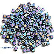 Материалы для творчества handmade. Livemaster - original item 10 g 3 mm cube 401FR Japanese beads Miyuki black matte radue of naros. Handmade.