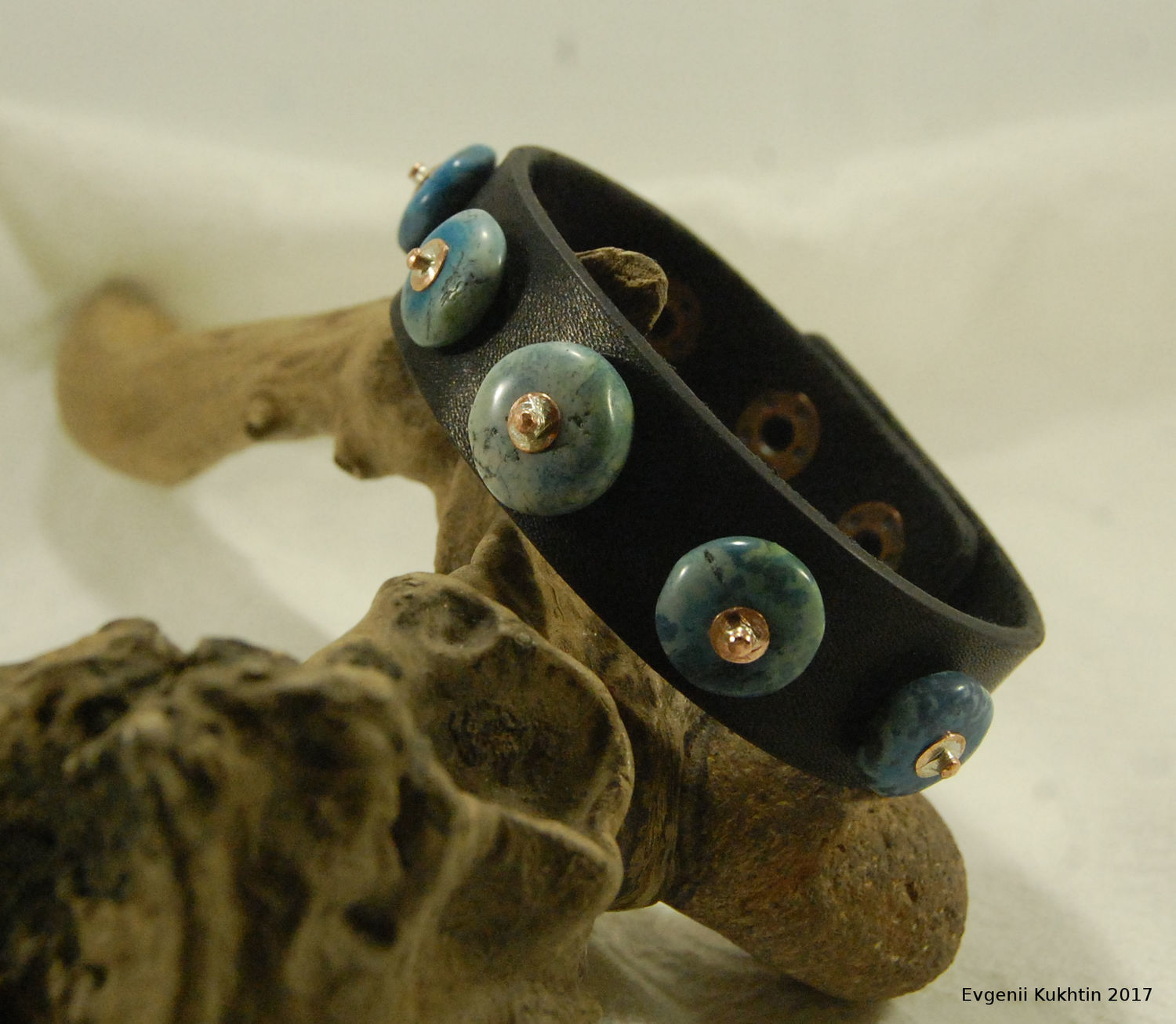 Leather bracelet with turquoise overlays
