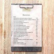 Канцелярские товары ручной работы. Ярмарка Мастеров - ручная работа Деревянный планшет под меню с логотипом. Handmade.