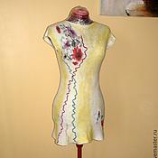 """Одежда ручной работы. Ярмарка Мастеров - ручная работа Валяное белое  платье  """" Летнее """" белое короткое цветочное. Handmade."""