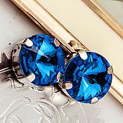 Материалы для творчества handmade. Livemaster - original item Premium crystals in a Rivoli frame 14 mm Blue Capri Blue. Handmade.