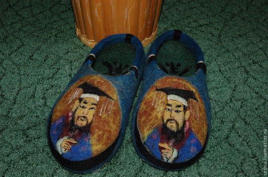 """Обувь ручной работы. Ярмарка Мастеров - ручная работа. Купить Мужские домашние тапочки """" В Поднебесной"""". Handmade."""