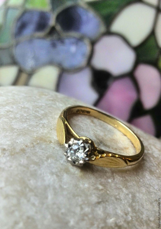 Винтаж: Винтажное золотое кольцо с бриллиантом в оправе из платины Англия 1970, Кольца винтажные, Лондон,  Фото №1