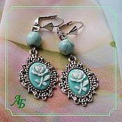 Украшения handmade. Livemaster - original item Earrings from natural howlite under turquoise with cameos. Handmade.