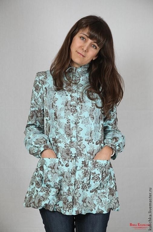 Верхняя одежда ручной работы. Ярмарка Мастеров - ручная работа. Купить Куртка с кружевом Цветочные мотивы. Handmade. Голубой