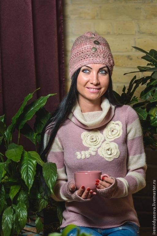 """Кофты и свитера ручной работы. Ярмарка Мастеров - ручная работа. Купить Свитер """"Белые розы"""". Handmade. Бледно-розовый"""