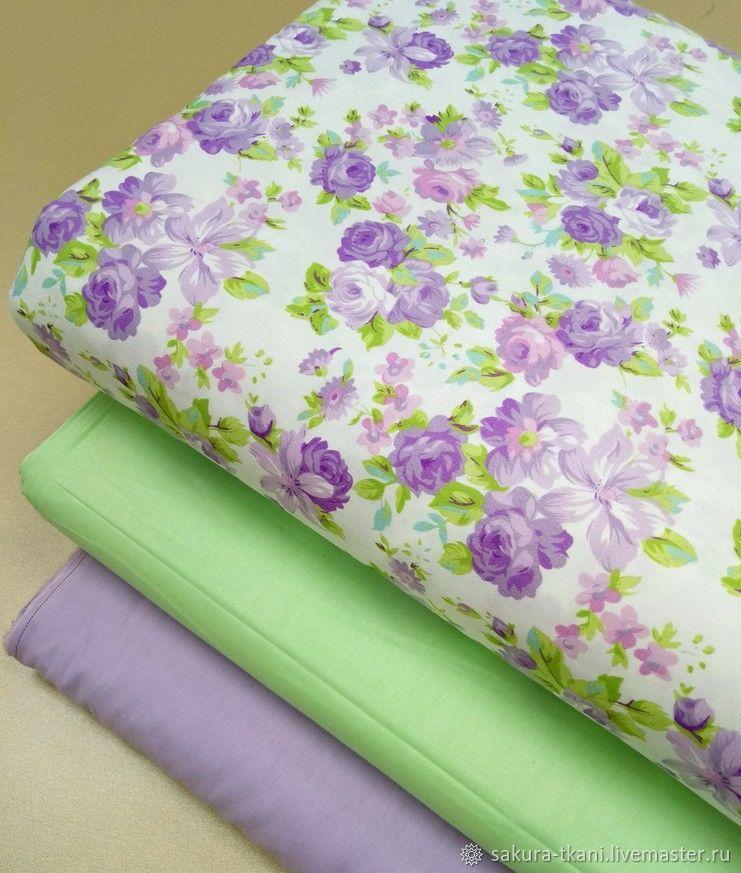 Ткань Фиолетовый букет, сатин, 100% хлопок, Ткани, Москва, Фото №1