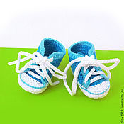 Работы для детей, handmade. Livemaster - original item booties shoes, knitted shoes, white, blue, turquoise. Handmade.