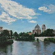 Картины и панно handmade. Livemaster - original item Painting City on the river in blue tones Urban landscape Verona. Handmade.