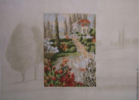 """Пейзаж ручной работы. Ярмарка Мастеров - ручная работа. Купить Вышитая картина """"Estate in Tuscany"""". Handmade. Разноцветный"""