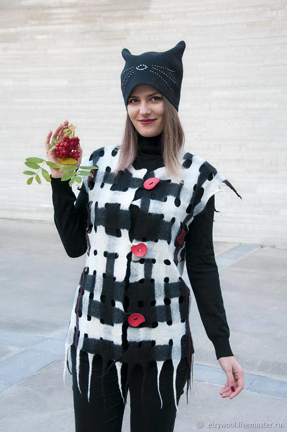 Felt openwork vest 'Black-and-white movie', Vests, Tallinn,  Фото №1
