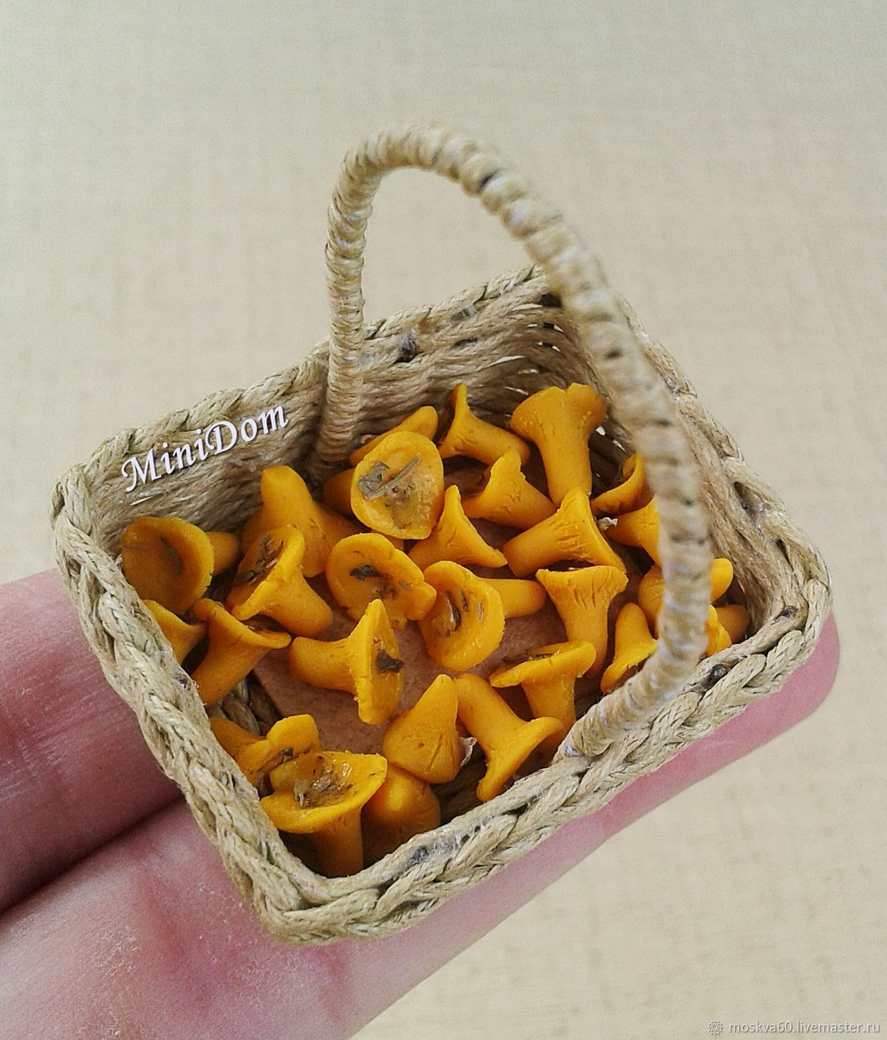 Dollhouse miniature for doll and toy accessories for dolls collectible miniature doll accessories chanterelle mushrooms basket for dolls accessories for cotton toy