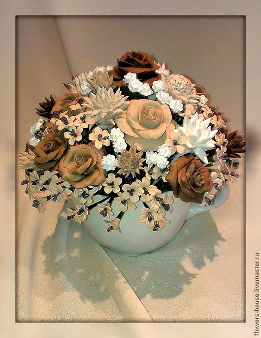 Цветы ручной работы. Ярмарка Мастеров - ручная работа. Купить Цветочная композиция «Чашечка с розами. Латте..».. Handmade. кофе