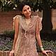 Платья ручной работы. Ярмарка Мастеров - ручная работа. Купить Платье ручной работы из шелка и шерсти. Handmade. Бежевый