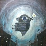 """Картины и панно ручной работы. Ярмарка Мастеров - ручная работа Картина красками """"Городские ангелы"""". Handmade."""