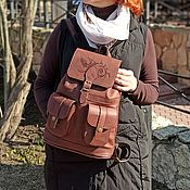 Сумки и аксессуары handmade. Livemaster - original item Backpack leather womens brown Eliza Maud R12p -722. Handmade.