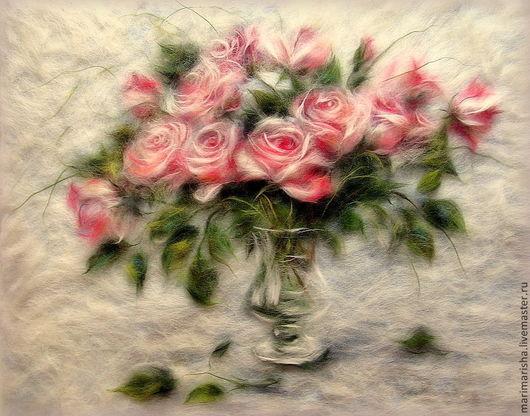 Картины цветов ручной работы. Ярмарка Мастеров - ручная работа. Купить Картина из шерсти Унесенные ветром. Handmade. Бледно-розовый