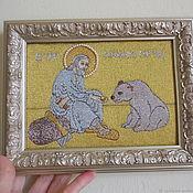 Картины и панно handmade. Livemaster - original item Your Saint Icon custom hand embroidery Seraphim of Sarov Icon. Handmade.