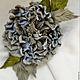 """Цветы ручной работы. Ярмарка Мастеров - ручная работа. Купить Староанглийская роза-брошь """"Голубой иней"""". Handmade. Голубой"""