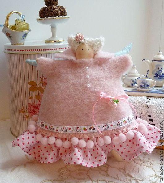 Куклы Тильды ручной работы. Ярмарка Мастеров - ручная работа. Купить Пирожный ангел Рита. Handmade. Бледно-розовый