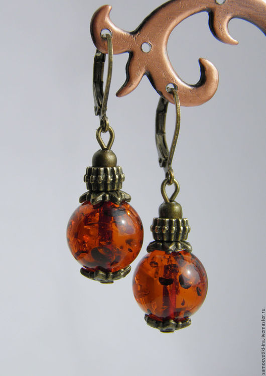 """Серьги ручной работы. Ярмарка Мастеров - ручная работа. Купить Маленькие серьги """"Юрмала"""" из янтаря. Handmade. Рыжий, медовый янтарь"""