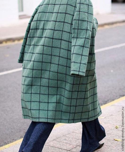 Верхняя одежда ручной работы. Ярмарка Мастеров - ручная работа. Купить Пальто oversize в клетку. Handmade. Зеленый, осень, последнее