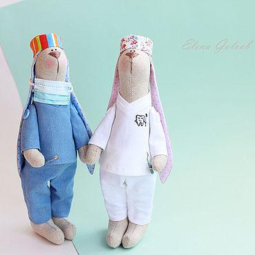 Куклы и игрушки ручной работы. Ярмарка Мастеров - ручная работа Тильды: Зайка-доктор. Handmade.