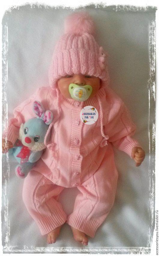 """Одежда ручной работы. Ярмарка Мастеров - ручная работа. Купить Комплект """"Зайка"""". Handmade. Розовый, Машинное вязание, новорожденной девочке"""