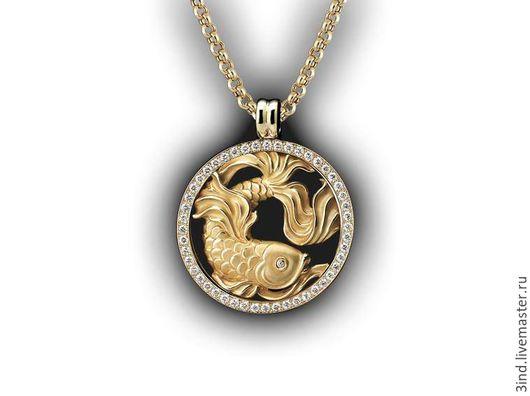 Кулон `Рыбы` из золота 750 пробы Бриллианты 1,5 ct. диаметром 2 мм. диаметр 40 мм. Возможны варианты изготовления.
