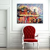 """Картины и панно ручной работы. Ярмарка Мастеров - ручная работа Картина """"Ночной вид на морской порт"""". Handmade."""