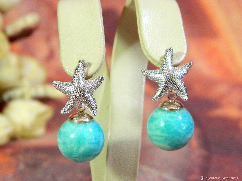 Amazon earrings with Amazonite, natural stone, Earrings, Saratov,  Фото №1