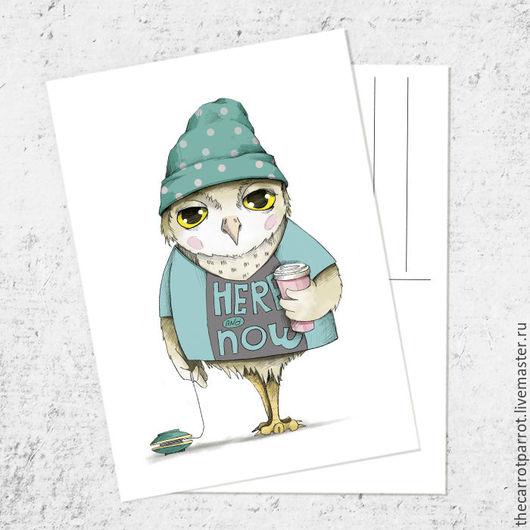 Открытки на все случаи жизни ручной работы. Ярмарка Мастеров - ручная работа. Купить Почтовая открытка «Сова-хипстер». Handmade. postcrossing