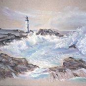 Картины ручной работы. Ярмарка Мастеров - ручная работа Картина пастелью Маяк (серый голубой морской пейзаж). Handmade.