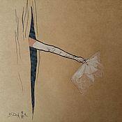 Картины ручной работы. Ярмарка Мастеров - ручная работа Фэшн иллюстрация Картина Интрига Свободная копия работы Рене Грюо. Handmade.
