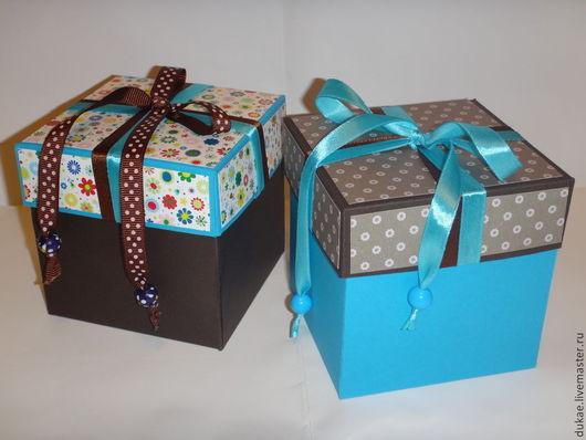 """Подарочная упаковка ручной работы. Ярмарка Мастеров - ручная работа. Купить Подарочные коробочки """"Шоколад"""" и """"Бирюза"""". Handmade. Подарочные коробки"""